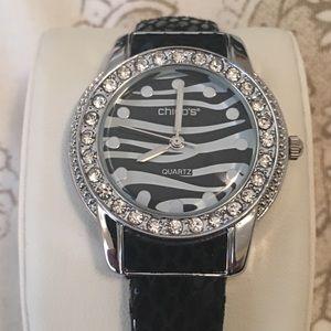 Jeweled Black & Silver Quartz Watch by Chico's